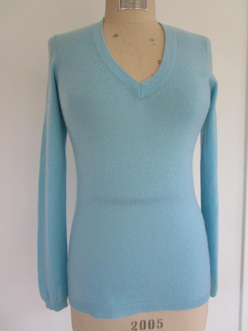 S Ann Taylor CASHMERE Sky Blue Pullover Knit Sweater V Neck image 0