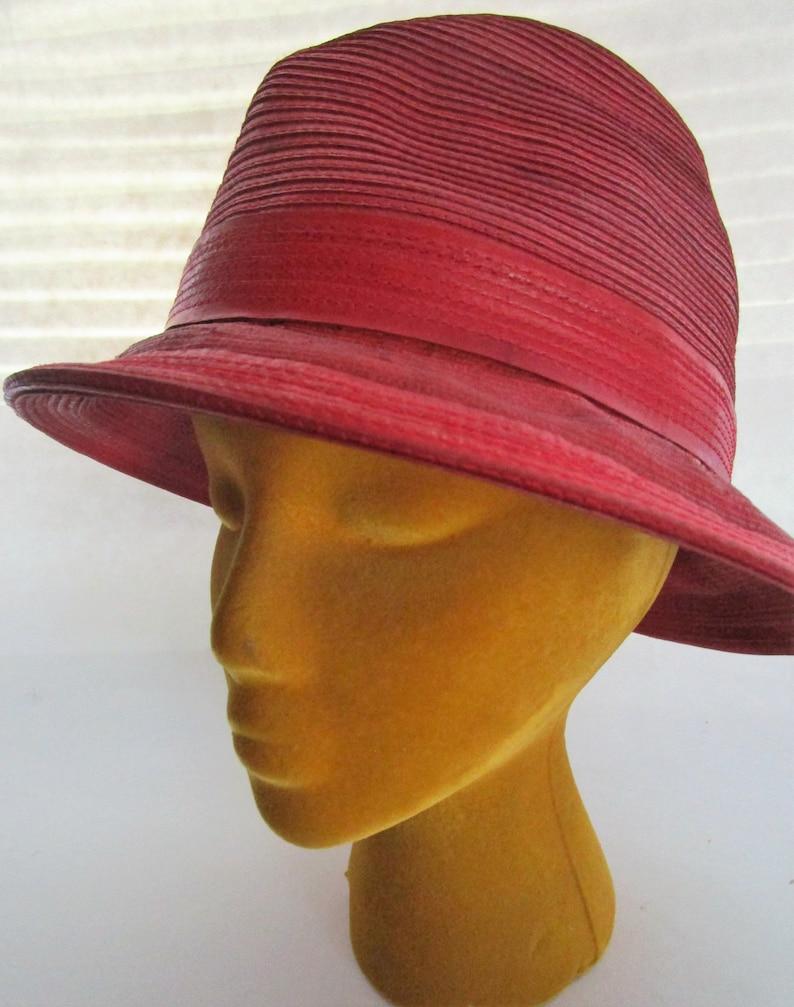 Kokin Red Genuine Corded Leather Trilby Fedora  Brim Hat image 0