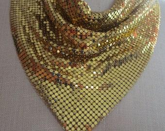 Gold Bib Necklace Disco Cowl Draped Mesh Vintage Whiting Davis Alumimesh