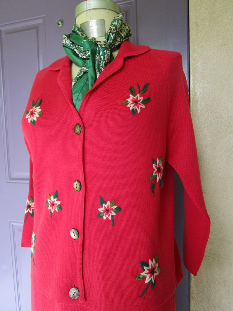 M Palio Italy Vintage Mad Men Red Wool Knit Suit Crewel image 0