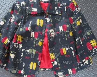 M Atomic MCM  Barkcloth Retro 50s Hip Swing Jacket Mid Century 3/4 Bell Sleeve