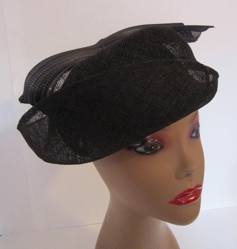 Celine Robert Chapeaux Straw Percher Twisted Hat Fascinator image 0