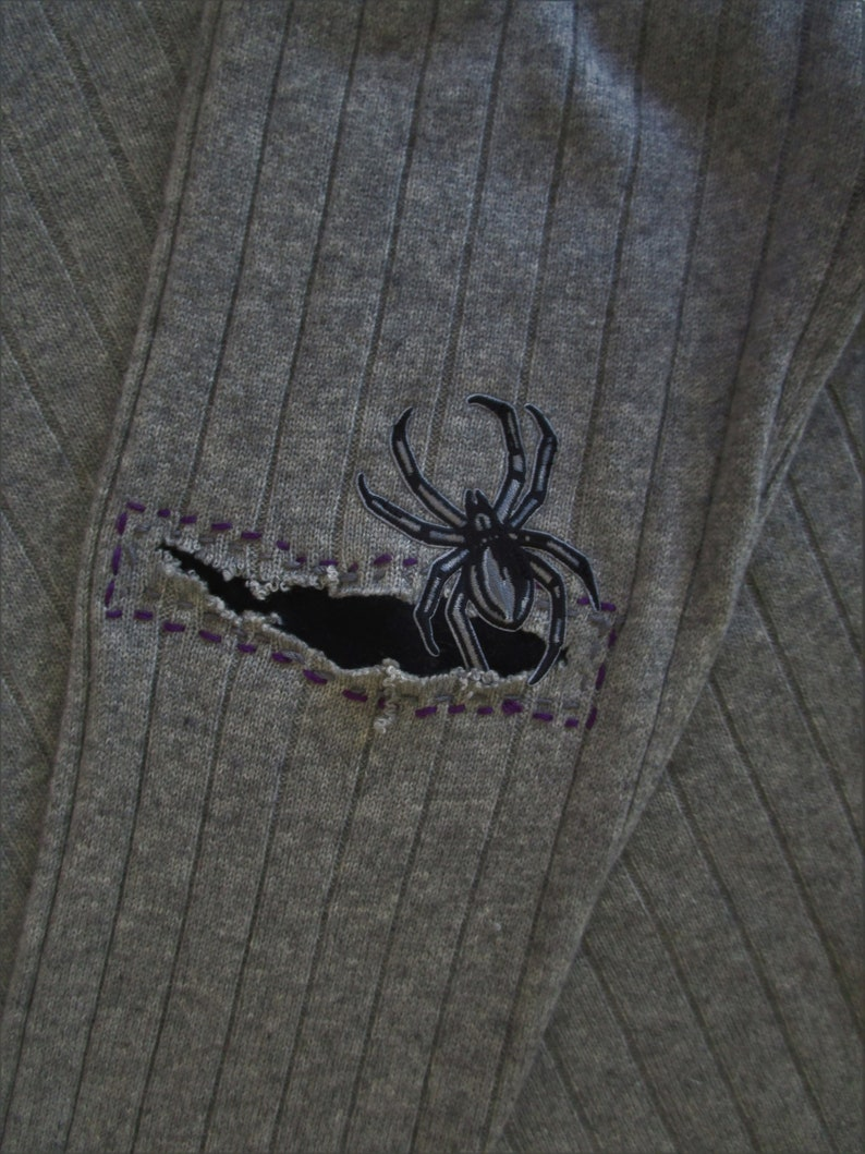 XL Mens Spider Patch CASHMERE Crew Neck Pullover Sweater Gray image 0
