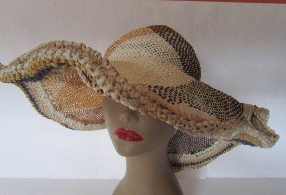 Grevi Italy Organic Rustic Straw Hat Multi Natural