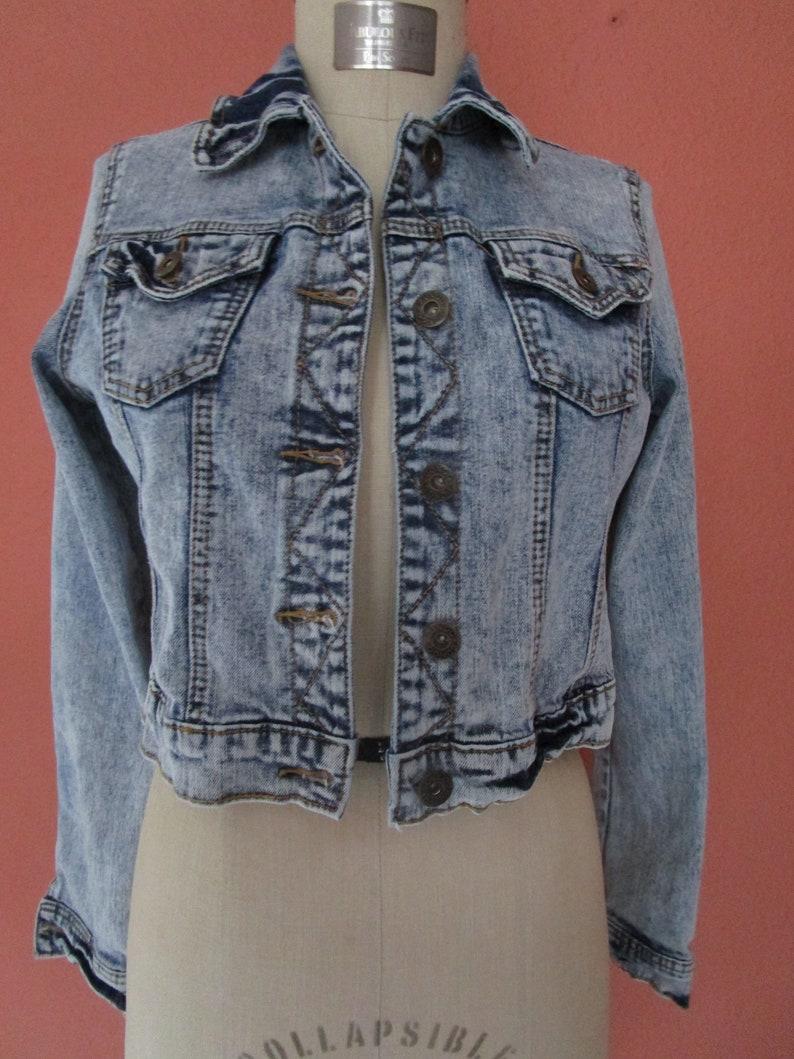M Bongo Stonewashed Cropped Jean Jacket Waist Bolero Washed image 0