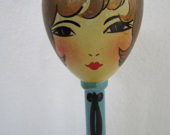 Egg Head Flapper Wooden Hat Stand Painted Gold Hair Teal Lathe Turned Millinery Decor