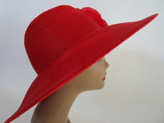Patricia Underwood Red Wide Brim Hat Silk Flower … - image 6