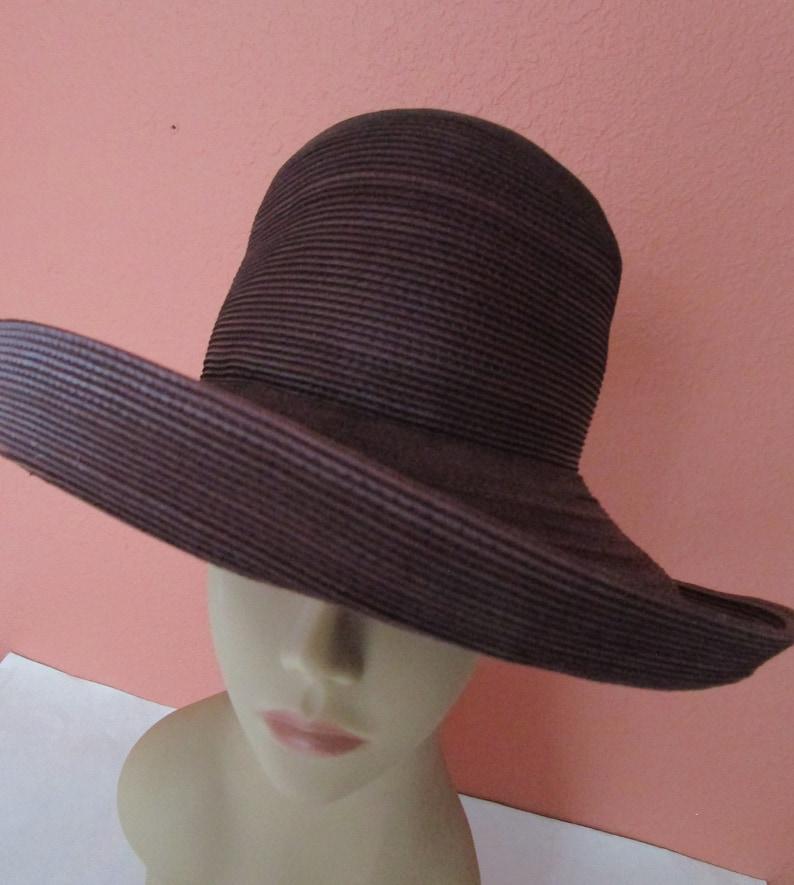 6e65c488 Patricia Underwood Genuine Corded Leather Wide Brim Hat Wine | Etsy