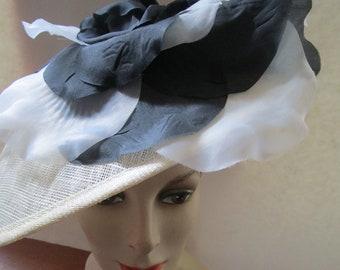 Sinamay Straw Platter Headband Hat Black Silk Flowers Clipped Feathers  Beige Sun Derby Church Easter