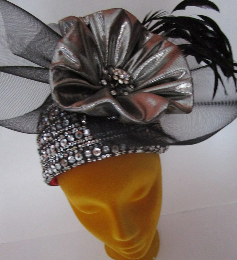 Whittail Shon Cocktail Fascinator Hat Sequin Silver Bling image 0
