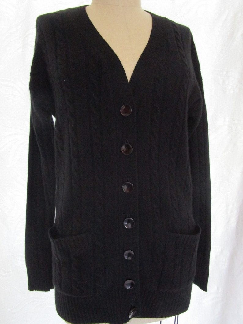 L Black Cable CASHMERE Cardigan Cardy Sweater Boyfriend Cuddly image 0