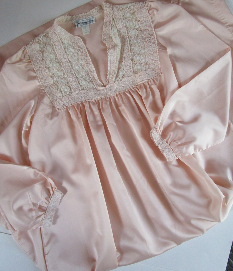 M Christian Dior Lingerie Woven Satin Nightgown Pink Lace image 0