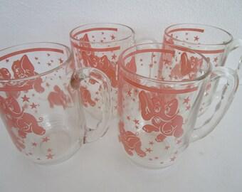 4 Pink Elephant Stars Barware 5in Beer Mug Glasses Hazel Atlas MCM