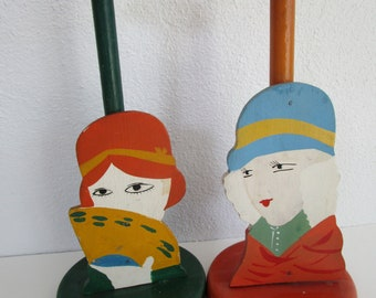 2 Wooden Hat Stands Flapper Girls Sisters Painted Figural Pair Millinery Decor