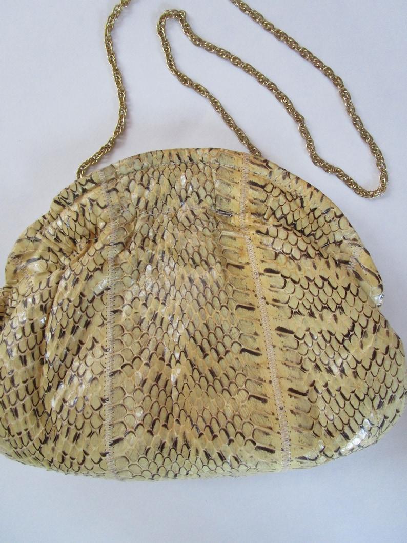 Exotic Snake Skin Purse Shoulder Bag Gold Chain Gathered image 0