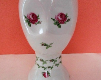 Pink French Roses French Halga SA Champs Elysees Ceramic Mannequin Head Porcelaines Pottery Hand Painted Sculpture