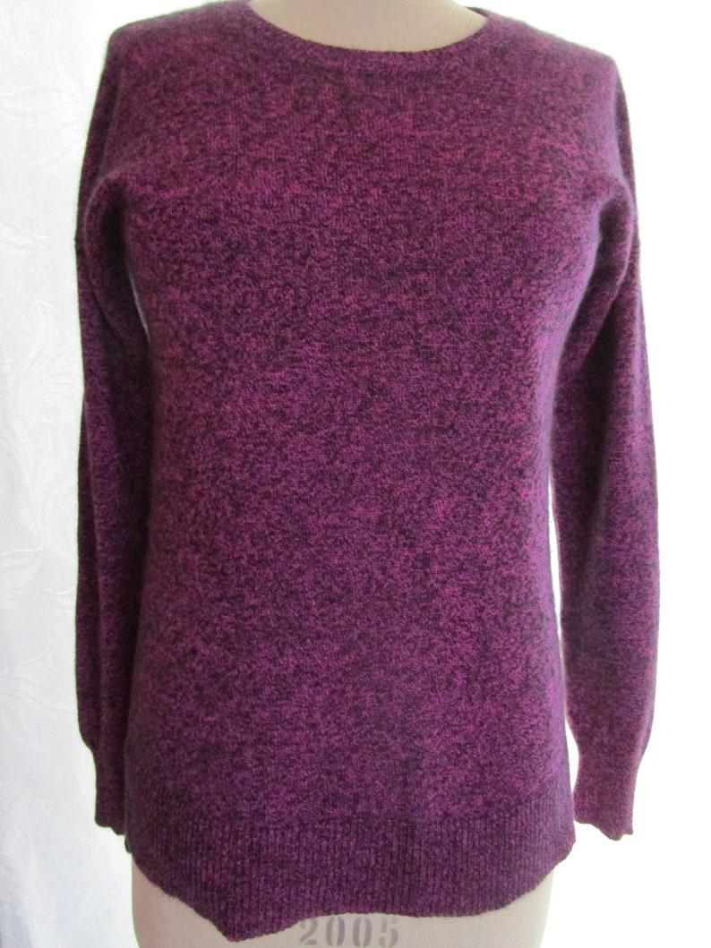 M Purple CASHMERE Peck Pullover Knit Sweater Heathered Hi Lo image 0
