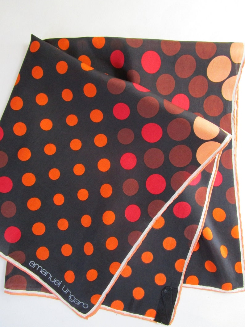 Emanuel Ungaro Silk Scarf 22 Polka Dots French Couture image 0