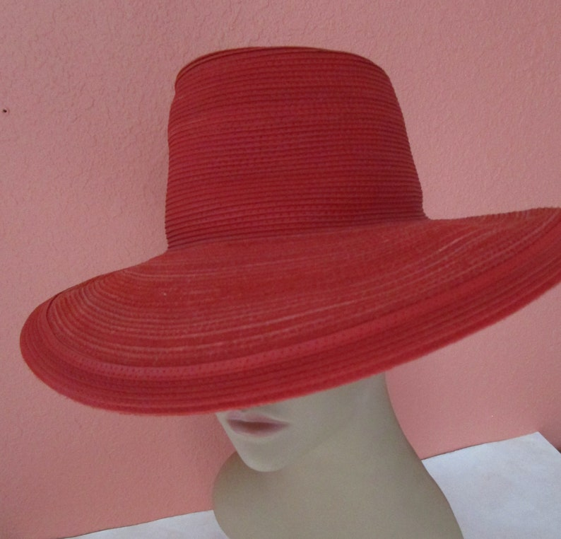 Red Patricia Underwood Western Chic Corded Leather Wide Brim image 0