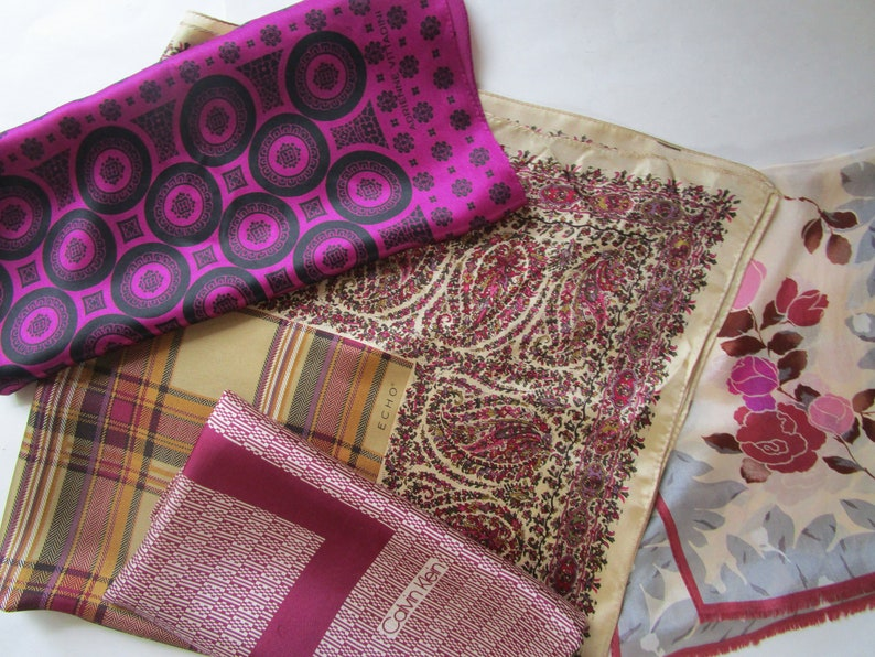 3 Fall Silk Scarves Jewel Burgandy Purple Wine  Echo Paisley image 0