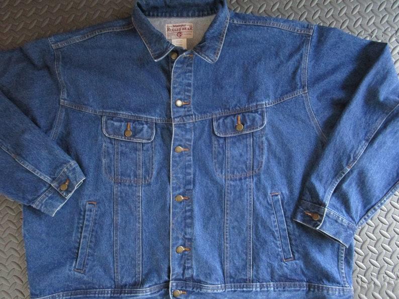 Mens Wrangler 4X Rugged Wear Dark Denim Jacket Western Inside image 0