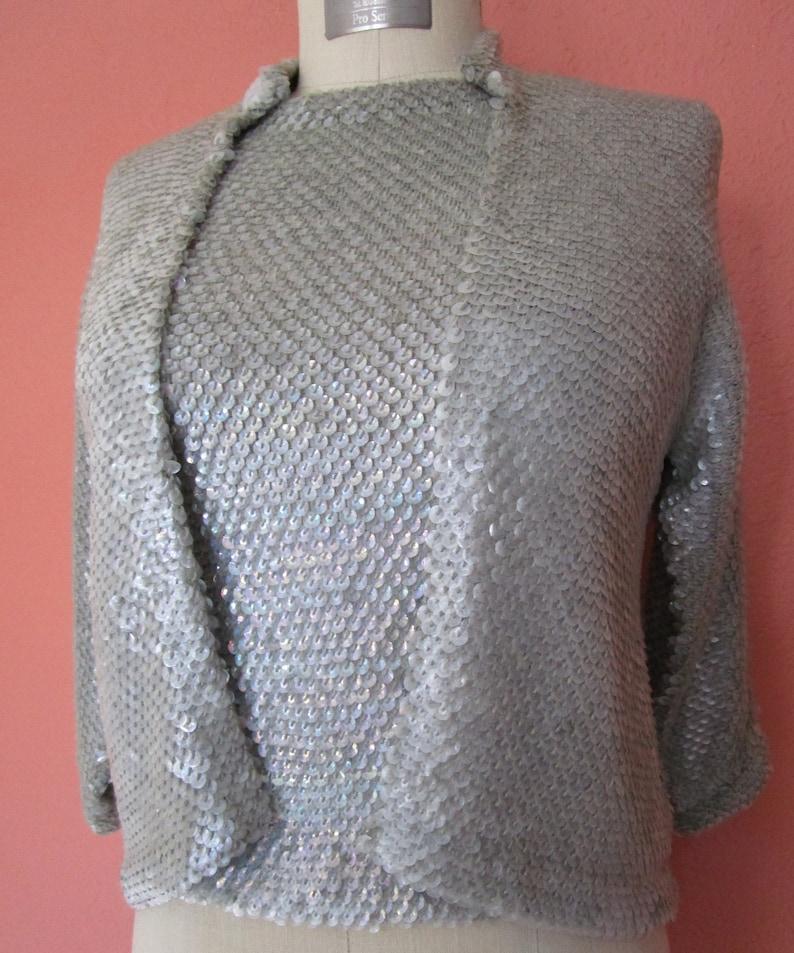 S Vintage Iridescent Silver Sequin Sweater Set Mermaid Hong image 0