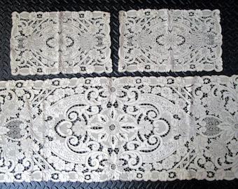 3- Fine Cutwork Embroidery Cotton Runner Doilies Scarf Vintage Cream Ecru Taupe
