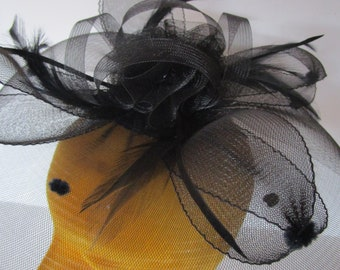 Sheer Black Fascinator Percher Hat Flocked Dots Feathers Cocktail Festival Party Bridal Church