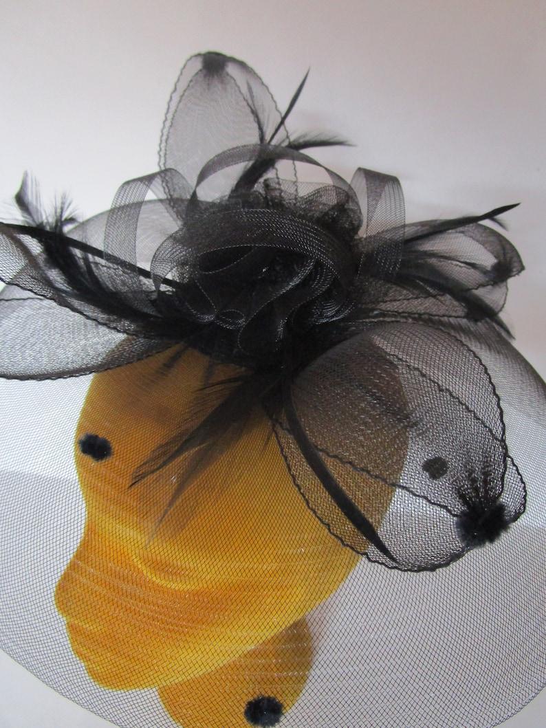 Sheer Black Fascinator Percher Hat Flocked Dots Feathers image 0