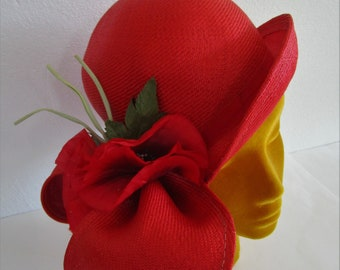 Red Straw Jack McConnell New York Cloche Hat Poppy Wedding Sun Derby Church Easter Tea