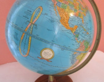 Vintage CRAM'S Imperial World Globe Wood Base George F. Cram Made in USA Time