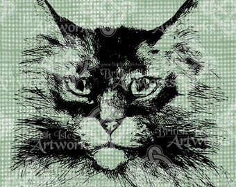 Digital Download, Feline Face, Kitty Cat Head, Antique Illustration, Iron on Transfer, DigiStamp, Transparent png