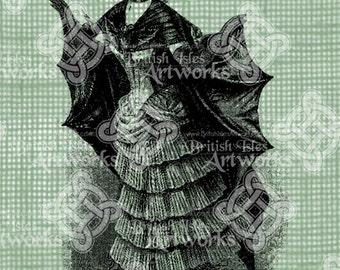 Digital Download Woman with Bat Costume for Halloween Vintage graphic digi st& Fantasy Gothic Digital Transfer & Bat costume | Etsy