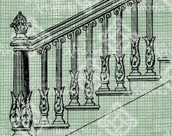 Digital Download Staircase Drawing Banister Architecture House Stairs,  Antique Illustration, Vintage Handrail Railing Steps Digital Transfer