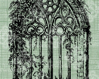 Digital Download Gothic Cathedral Window With Vines Antique Illustration Vintage Drawing Digi Stamp Stained Glass Church