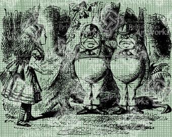 Digital Download Alice with Tweedledee Tweedledum, Alice in Wonderland digi stamp, digital stamp, Lewis Carroll, Iron-On Transfer