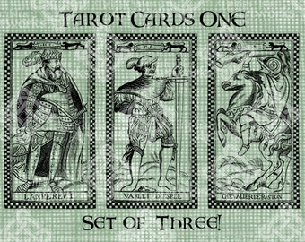 Digital Download Tarot Cards Set of 3, digi stamp, Antique Illustration, Emperor, Knave of Swords and Knight of Wands, Digital Transfer
