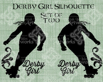 Digital Download, Derby Girl Silhouette, Roller Derby Digital Stamp, Iron on Transfer, Digistamp, Roller Skating, transparent png
