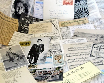 Vintage Paper Ephemera selection, 4x6 in. Small size, Ads, newspaper clippings, maps, music, postage, foreign language for ATCs, collage