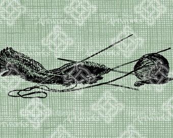 Digital Download Knitting Needles and Yarn Ball, digi stamp, digis, Antique Illustration, Beautiful Digital Transfer