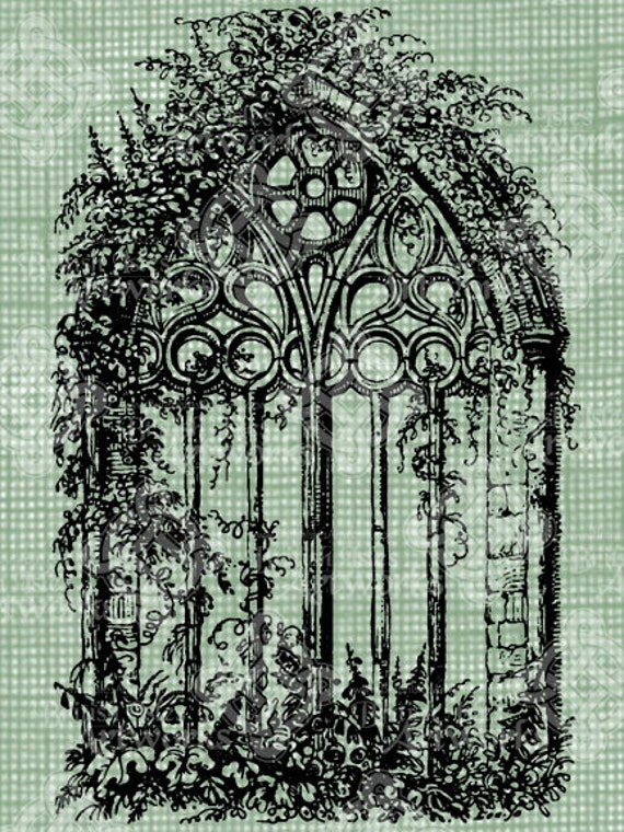 Digital Download Gothic Cathedral Window With Vines Antique Illustration Vintage Drawing Digi Stamp Stained Glass Cathedral Church Window