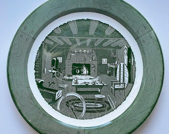 Midcentury Colonial Homestead by Royal plate. Green. Vintage. 1950s. 50s.