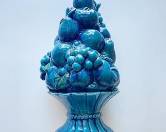 Vintage Mood Indigo fruit pottery ceramic sculpture, blue centerpiece, kitchen, grapes apples pears.