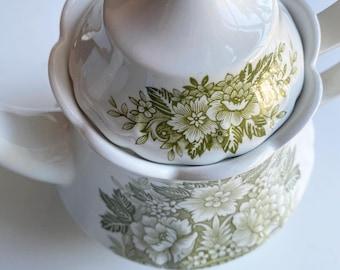 Royal Staffordshire green transferware floral teapot. Scalloped edge. Vintage.