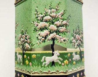 Vintage hexagonal cookie biscuit tin, springtime with lambs, pink flowers. Edinburgh Scotland. McVitie and Price.  1960s 60s.