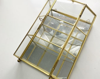 Vintage brass and mirror curio cabinet, shelf with doors, 1980s, 80.