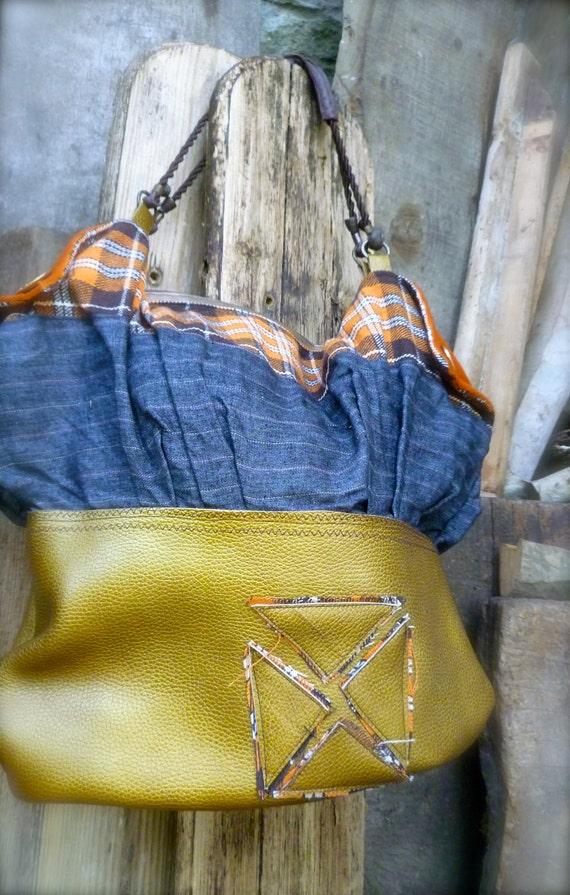 Flap Tote handmade bag gold leather wool tartan vintage  4389b19db2694