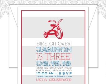 Tricycle Birthday Invite, Tricycle theme party, red tricycle party invite, modern tricycle invite, red tricycle themed bi
