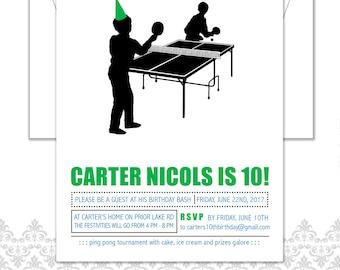 Ping Pong Birthday Invite, Ping Pong theme, Ping Pong Party, Modern ping pong invite, Modern boy birthday invite, Ping Pong retro party