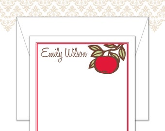 Apple Stationery, Apple Note Cards, Teacher Stationery, Custom Stationery, Red apple stationery, Teacher Note Cards, red apple and branch